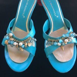 💃 A. Marinelli sandals w/ shells & beads